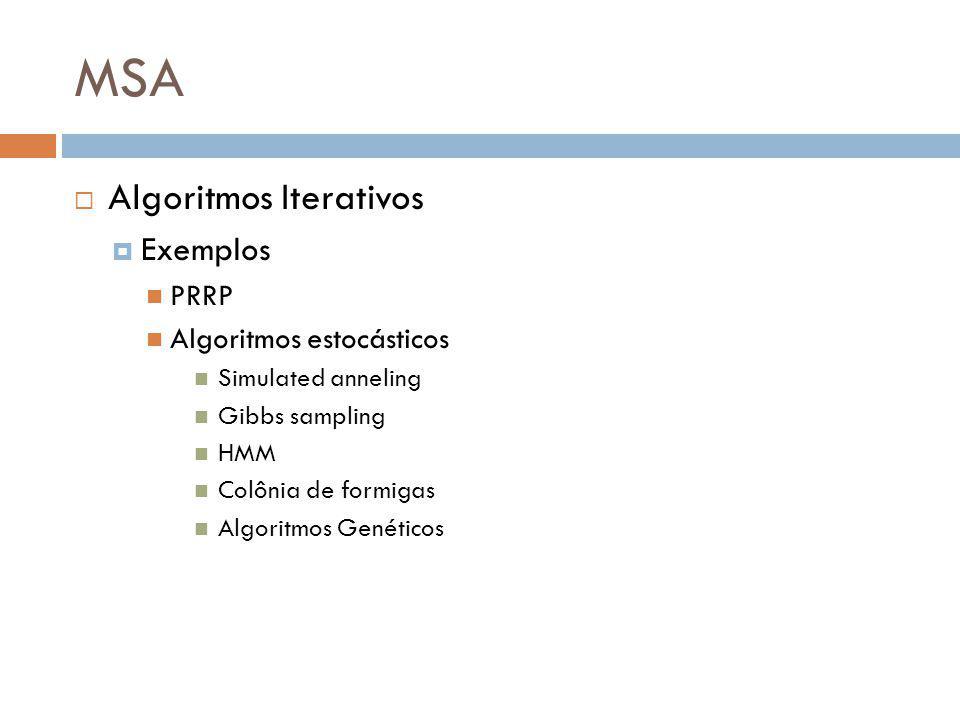 MSA Algoritmos Iterativos Exemplos PRRP Algoritmos estocásticos