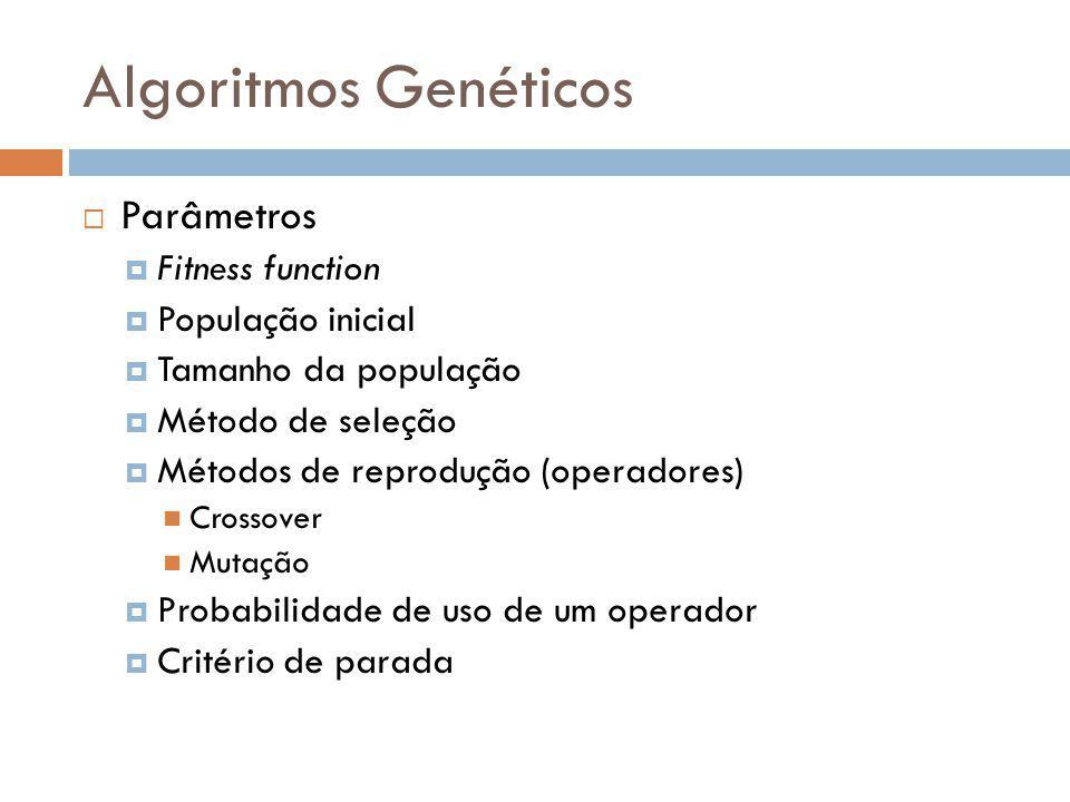Algoritmos Genéticos Parâmetros Fitness function População inicial