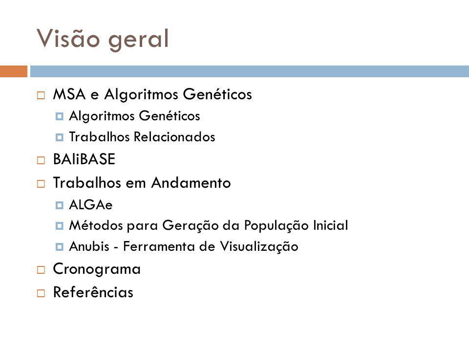 Visão geral MSA e Algoritmos Genéticos BAliBASE Trabalhos em Andamento