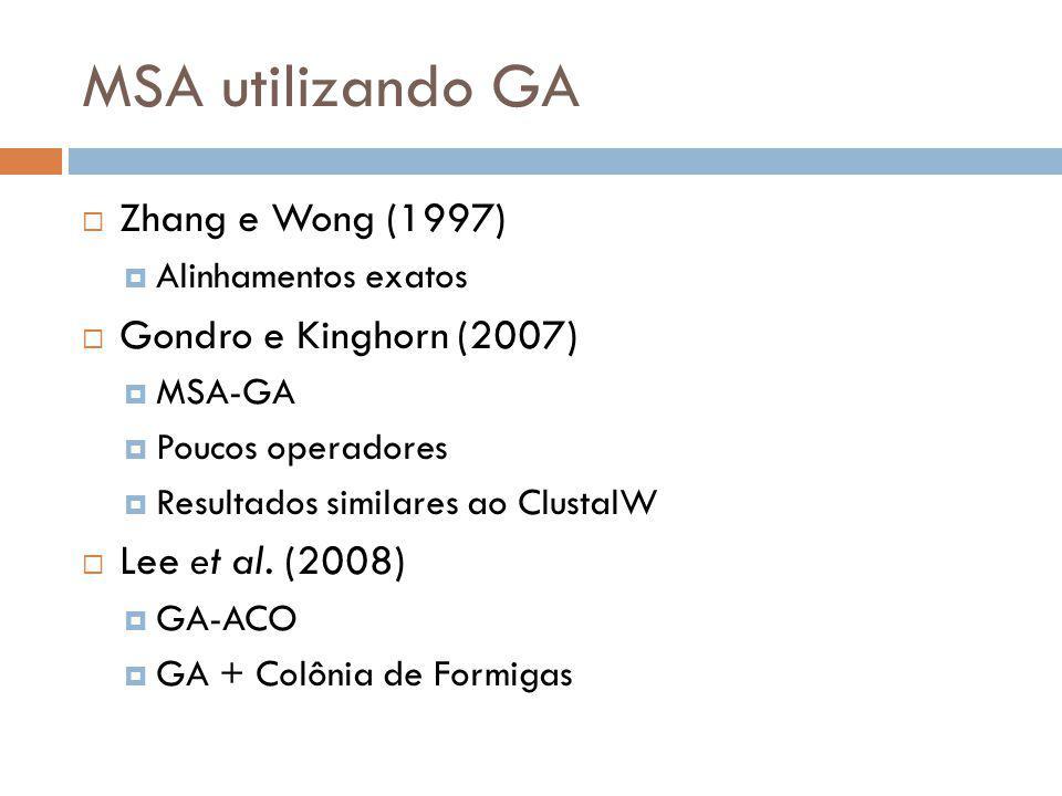 MSA utilizando GA Zhang e Wong (1997) Gondro e Kinghorn (2007)