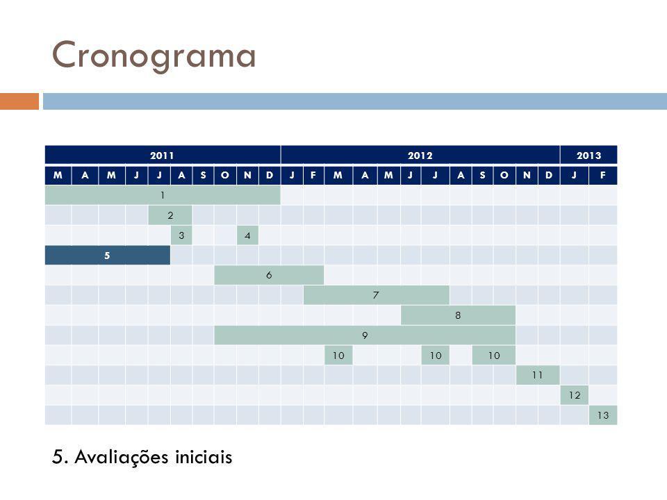 Cronograma 5. Avaliações iniciais 2011 2012 2013 M A J S O N D F 1 2 3