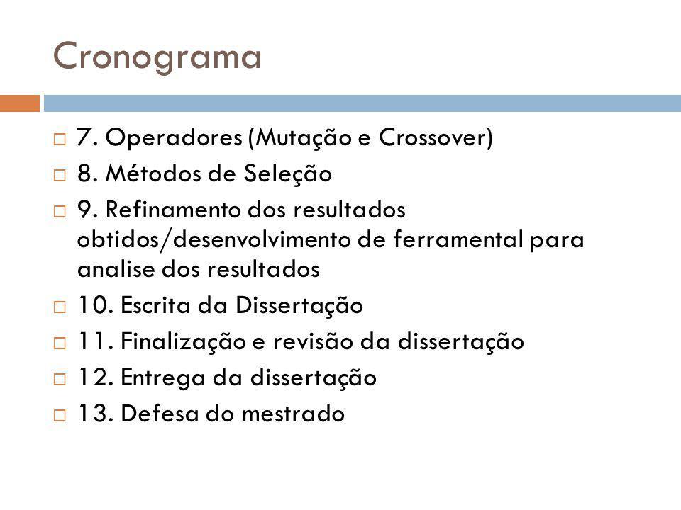 Cronograma 7. Operadores (Mutação e Crossover) 8. Métodos de Seleção