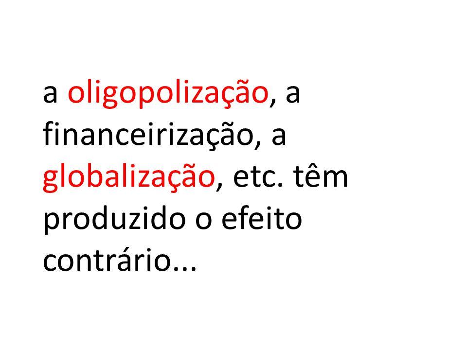 a oligopolização, a financeirização, a globalização, etc