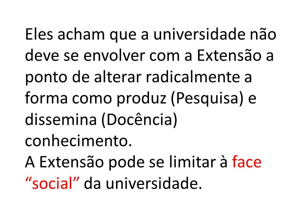 Eles acham que a universidade não deve se envolver com a Extensão a ponto de alterar radicalmente a forma como produz (Pesquisa) e dissemina (Docência) conhecimento.