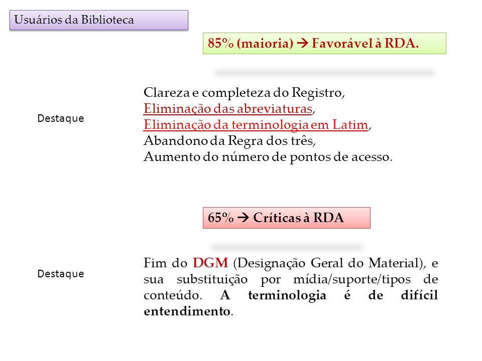 85% (maioria)  Favorável à RDA.