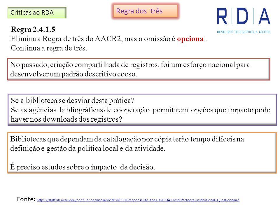Elimina a Regra de três do AACR2, mas a omissão é opcional.