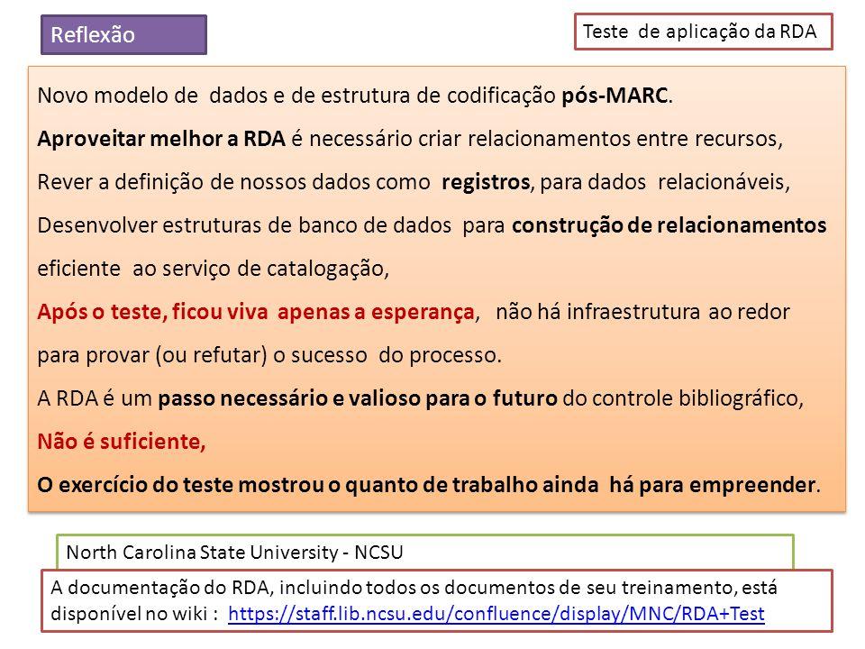 Novo modelo de dados e de estrutura de codificação pós-MARC.