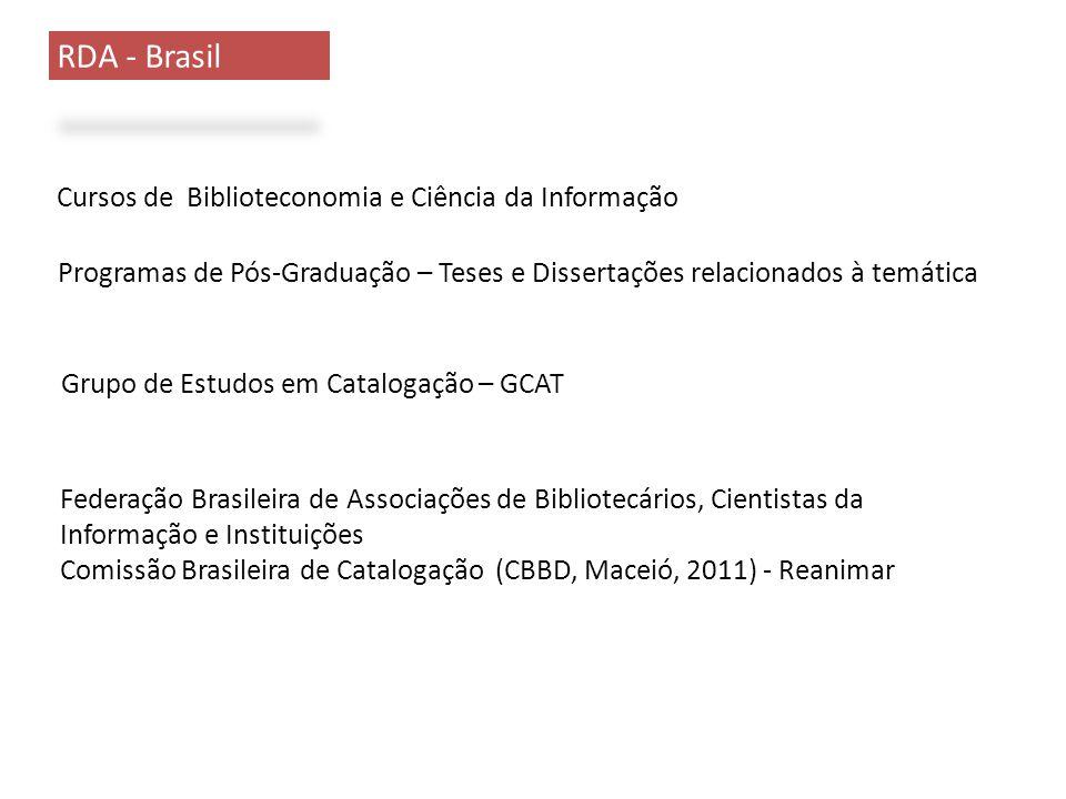 RDA - Brasil Cursos de Biblioteconomia e Ciência da Informação