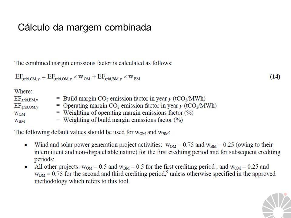 Cálculo da margem combinada