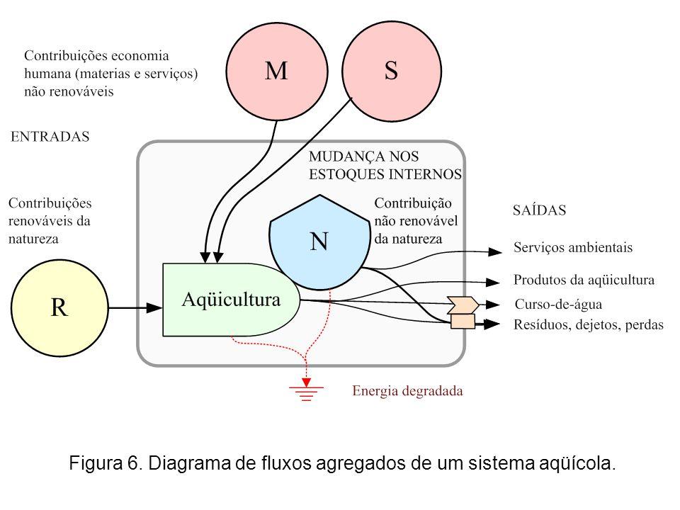 Figura 6. Diagrama de fluxos agregados de um sistema aqüícola.