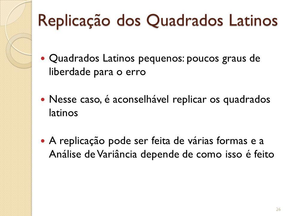 Replicação dos Quadrados Latinos