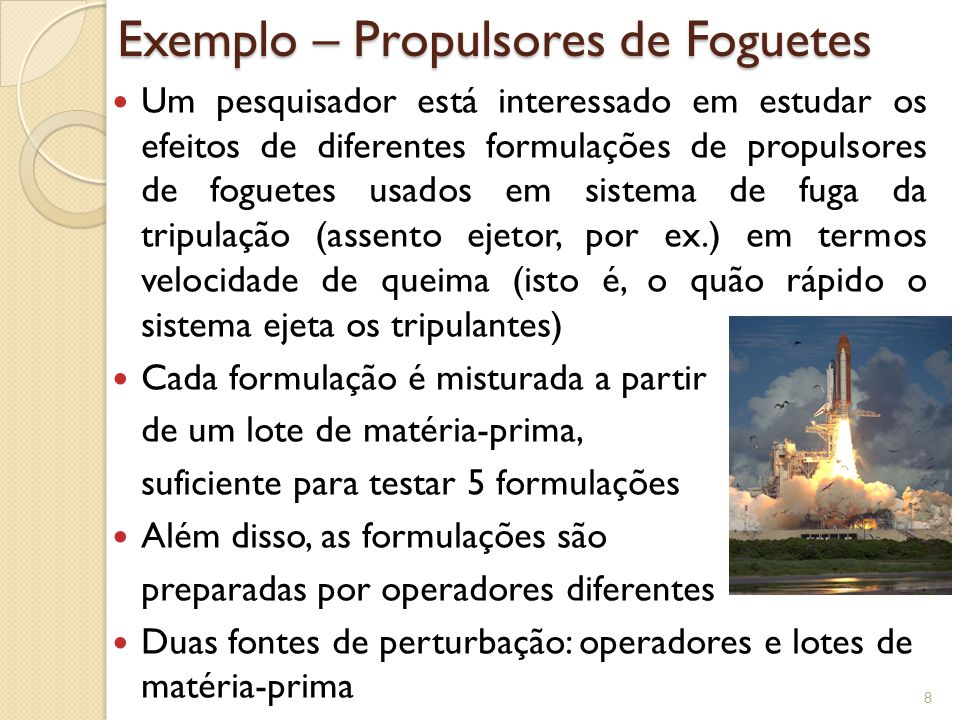 Exemplo - Propulsores de Foguetes