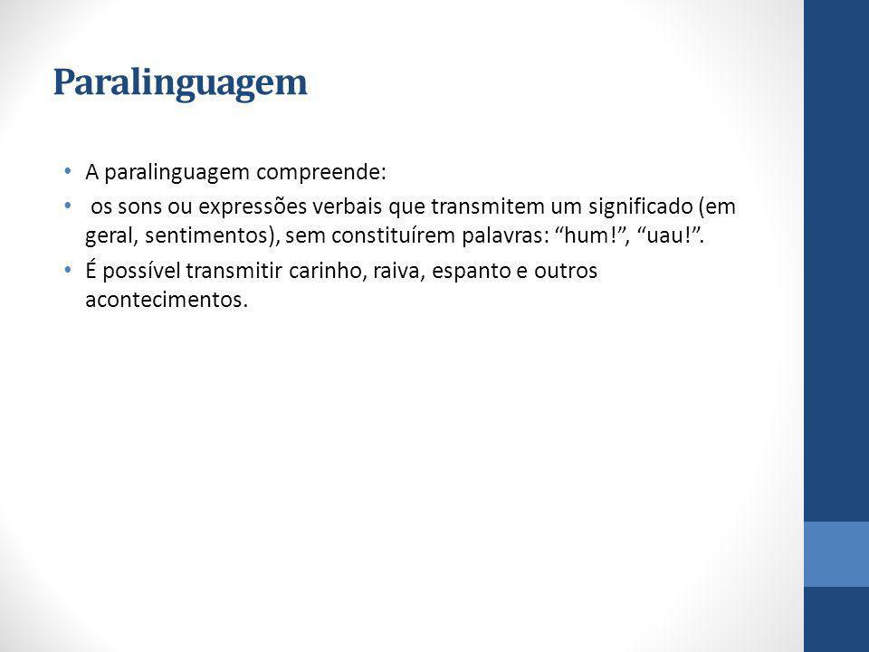 Paralinguagem A paralinguagem compreende: