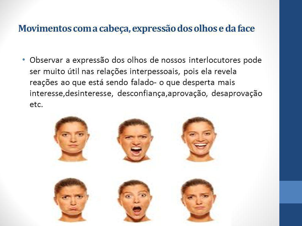 Movimentos com a cabeça, expressão dos olhos e da face