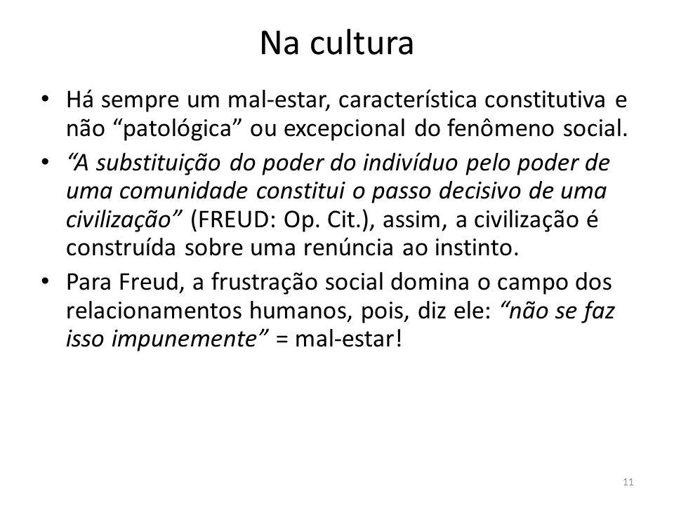 Na cultura Há sempre um mal-estar, característica constitutiva e não patológica ou excepcional do fenômeno social.