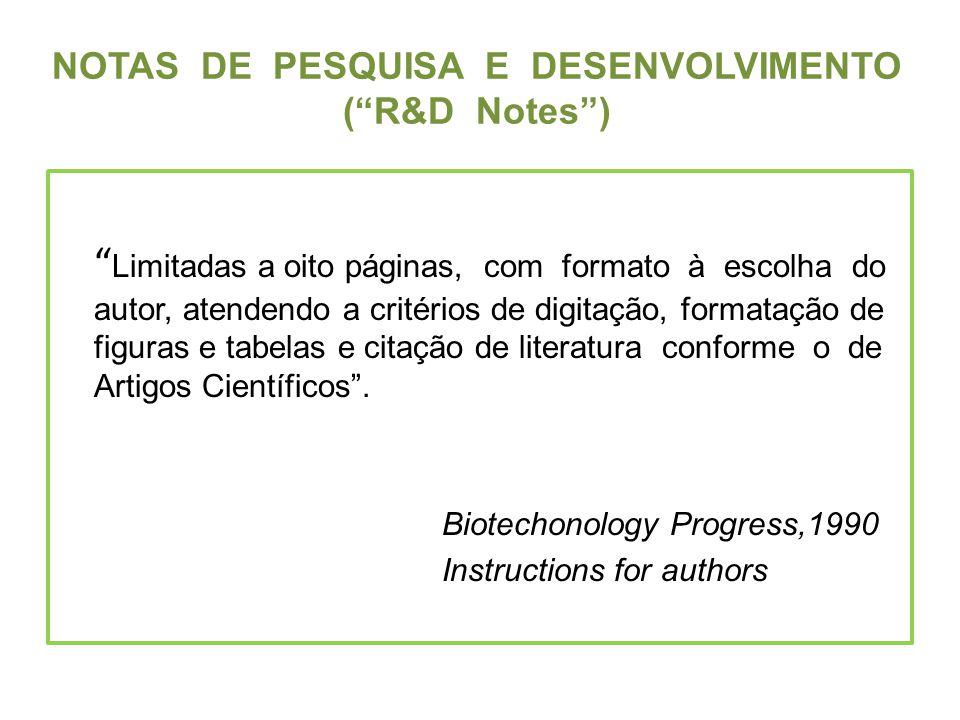 NOTAS DE PESQUISA E DESENVOLVIMENTO ( R&D Notes )
