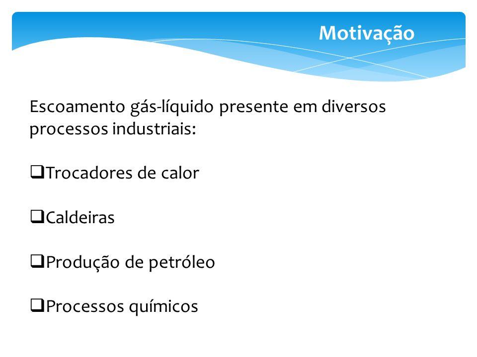 Motivação Escoamento gás-líquido presente em diversos processos industriais: Trocadores de calor. Caldeiras.