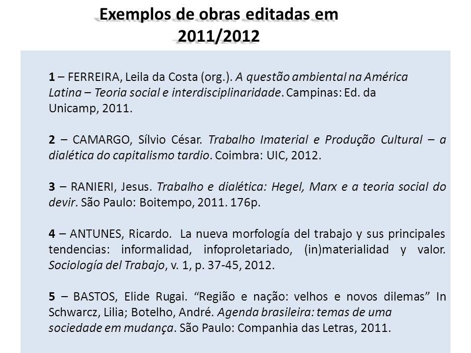 Exemplos de obras editadas em 2011/2012
