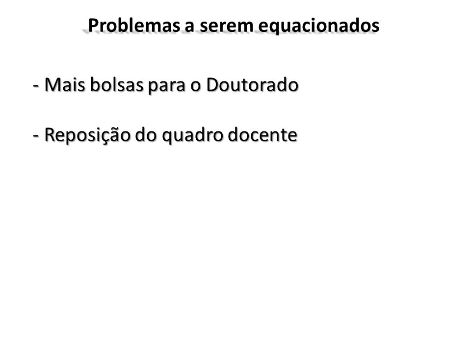 Problemas a serem equacionados