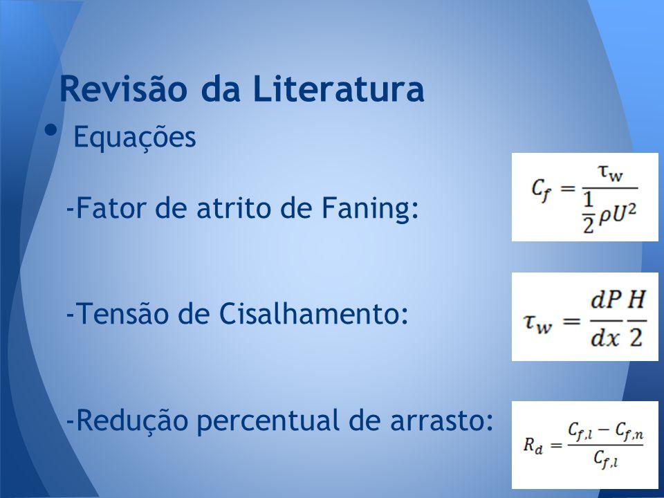 Revisão da Literatura Equações -Fator de atrito de Faning: