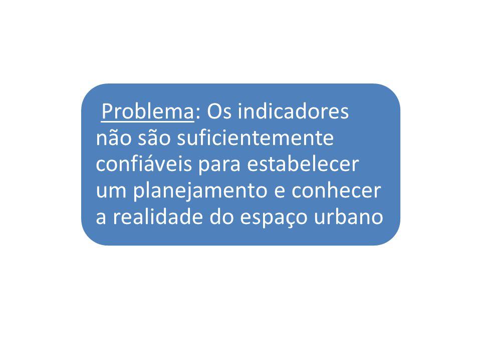 Problema: Os indicadores não são suficientemente confiáveis para estabelecer um planejamento e conhecer a realidade do espaço urbano