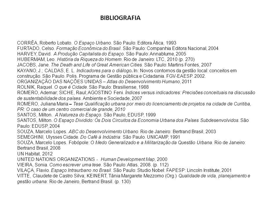 BIBLIOGRAFIA CORRÊA, Roberto Lobato. O Espaço Urbano. São Paulo: Editora Ática, 1993.