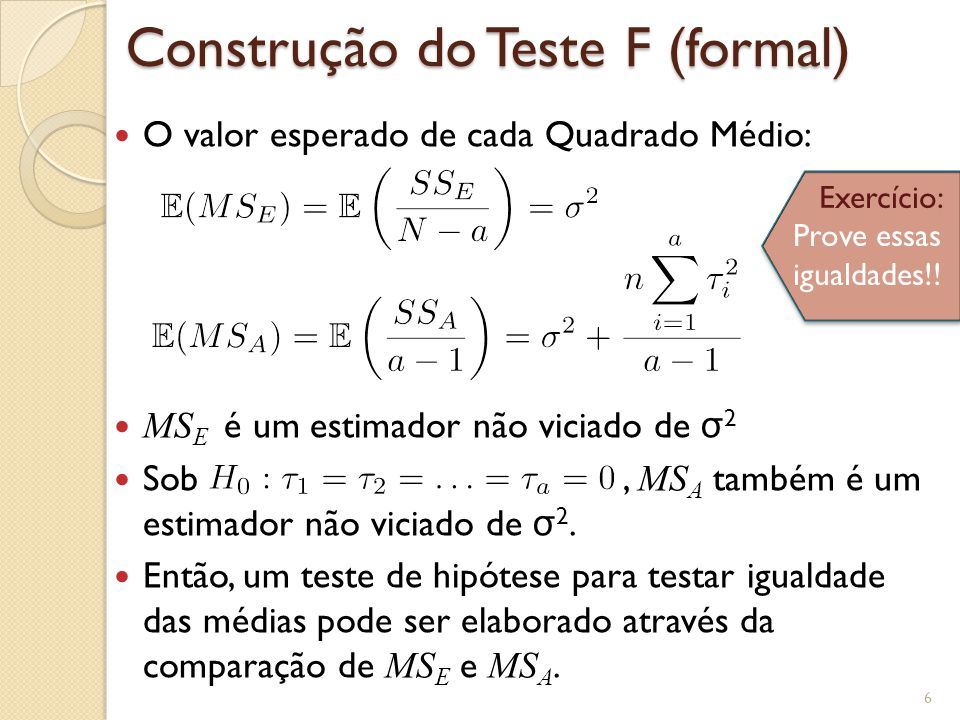 Construção do Teste F (formal)