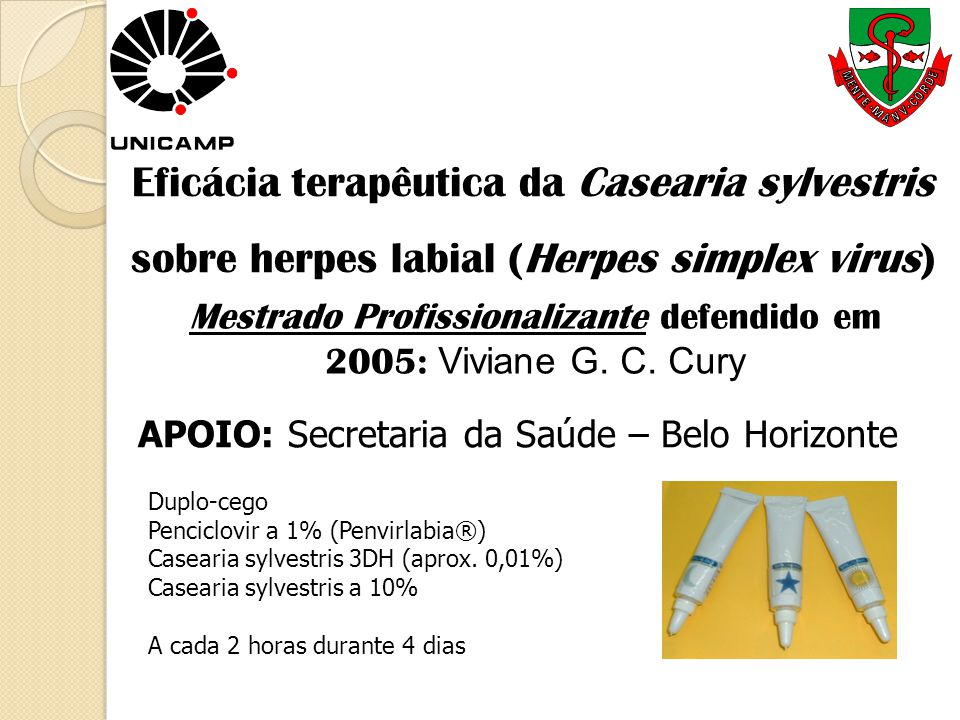 Eficácia terapêutica da Casearia sylvestris sobre herpes labial (Herpes simplex virus)