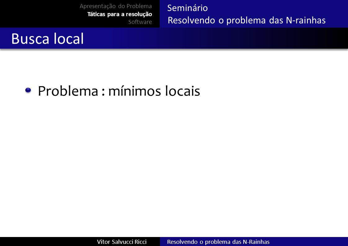 Busca local Problema : mínimos locais