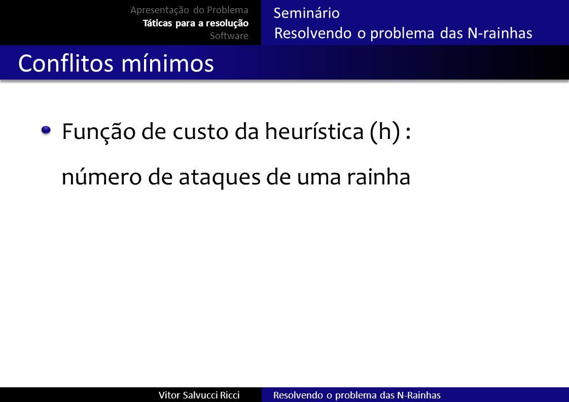 Conflitos mínimos Função de custo da heurística (h) :