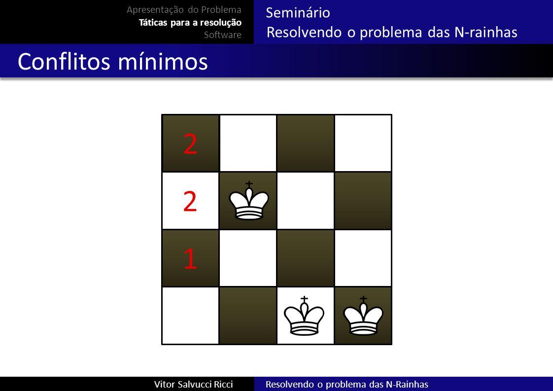 2 2 1 Conflitos mínimos Resolvendo o problema das N-rainhas Seminário