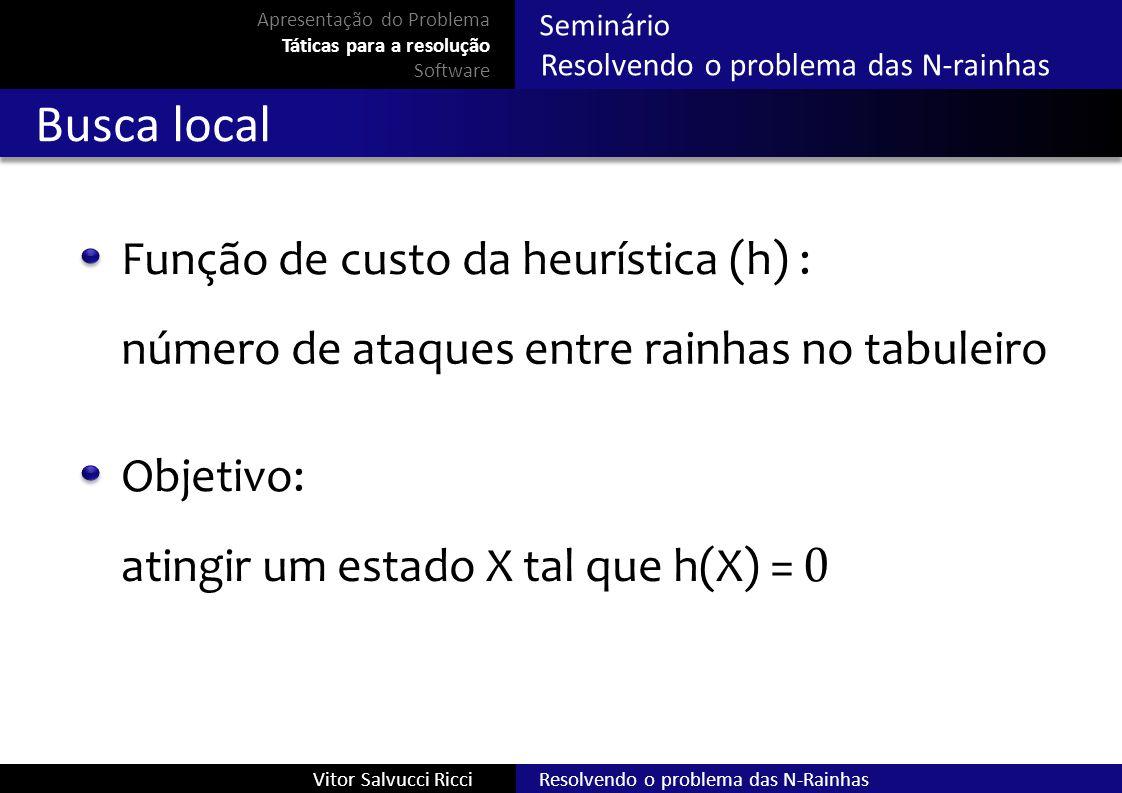 Busca local Função de custo da heurística (h) :