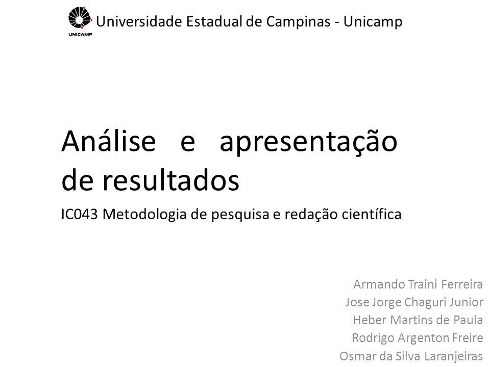 Análise e apresentação de resultados