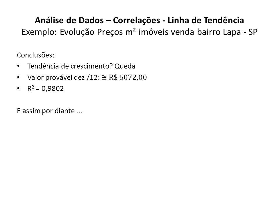 Análise de Dados – Correlações - Linha de Tendência Exemplo: Evolução Preços m² imóveis venda bairro Lapa - SP