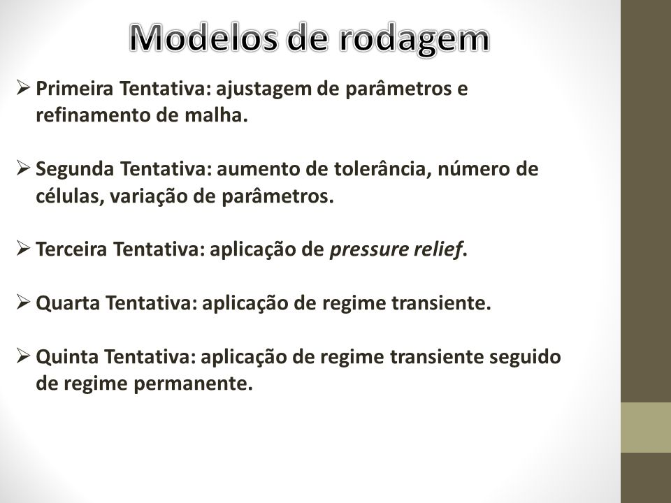 Modelos de rodagem Primeira Tentativa: ajustagem de parâmetros e refinamento de malha.