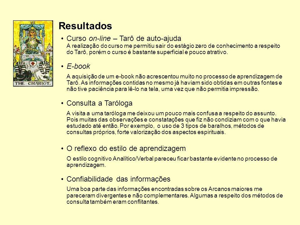 Resultados Curso on-line – Tarô de auto-ajuda E-book