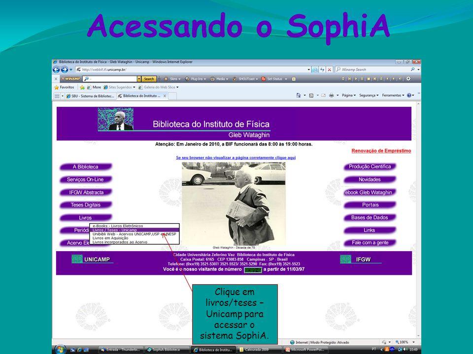 Clique em livros/teses – Unicamp para acessar o sistema SophiA.