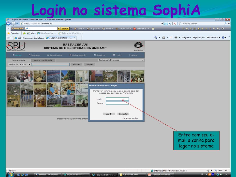 Login no sistema SophiA
