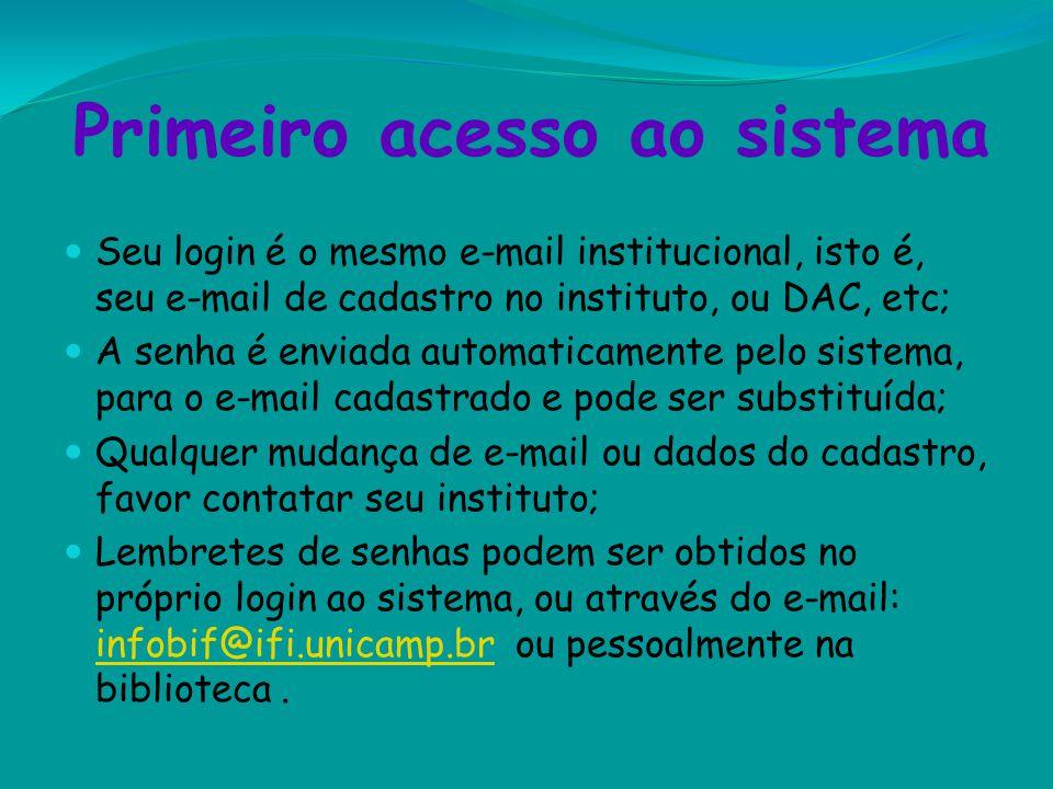 Primeiro acesso ao sistema