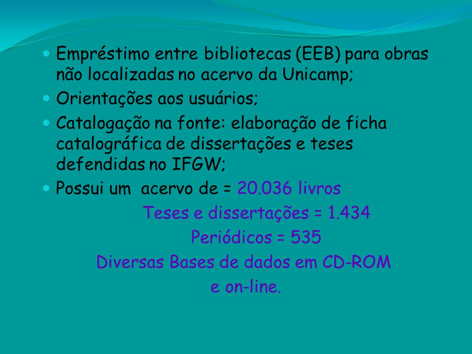 Diversas Bases de dados em CD-ROM