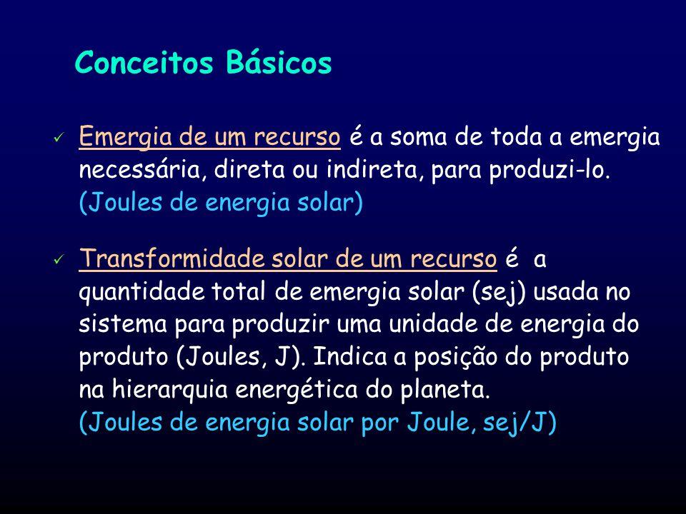 Conceitos Básicos Emergia de um recurso é a soma de toda a emergia necessária, direta ou indireta, para produzi-lo. (Joules de energia solar)