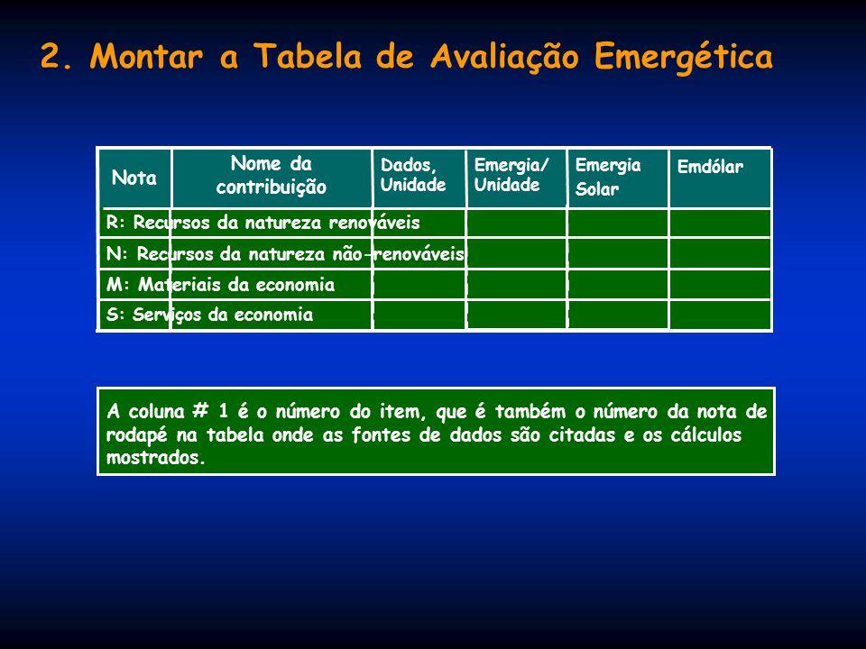 2. Montar a Tabela de Avaliação Emergética