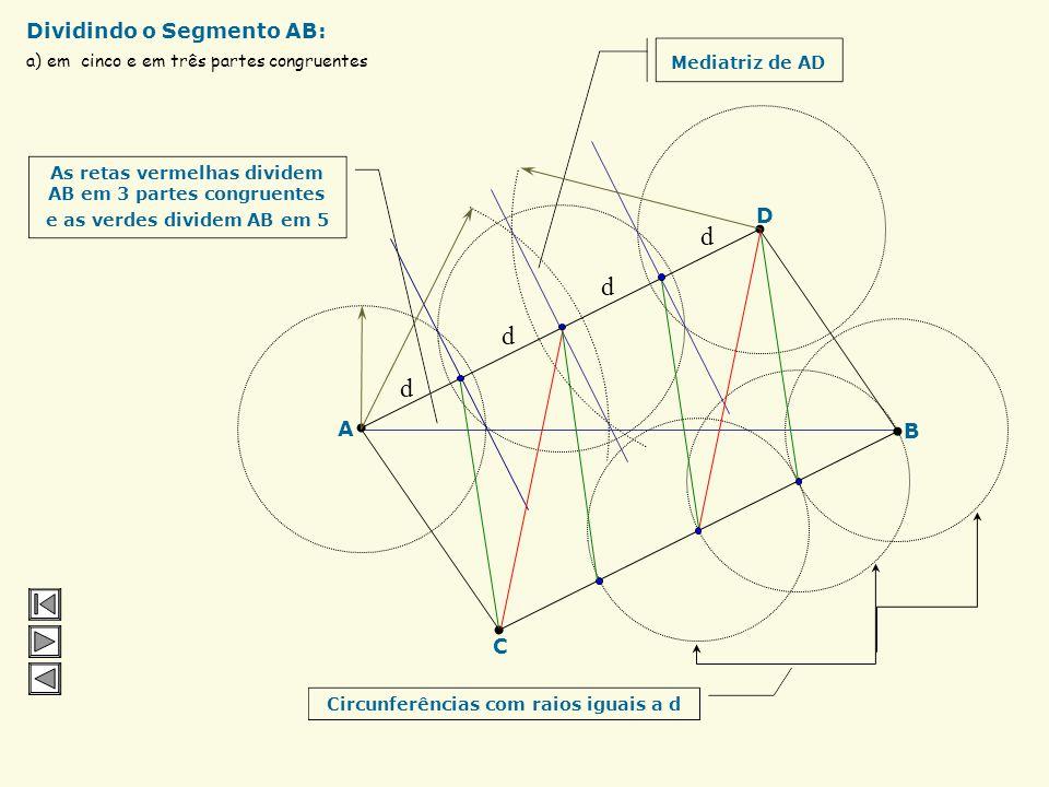 a) em cinco e em três partes congruentes