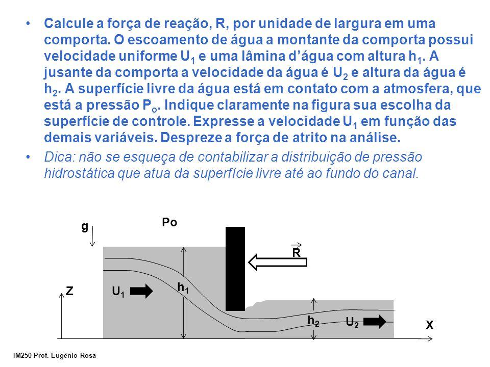 Calcule a força de reação, R, por unidade de largura em uma comporta