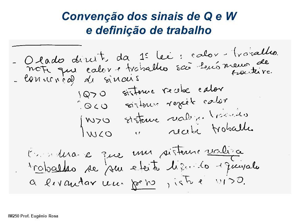 Convenção dos sinais de Q e W e definição de trabalho