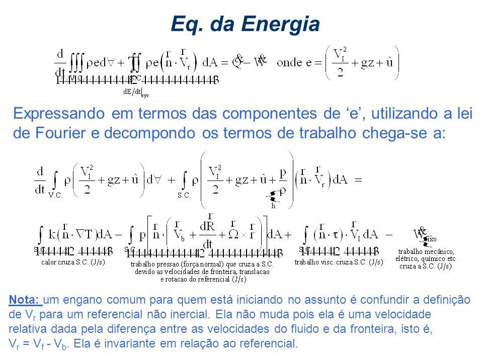 Eq. da Energia Expressando em termos das componentes de 'e', utilizando a lei de Fourier e decompondo os termos de trabalho chega-se a: