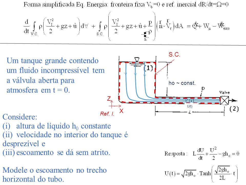 altura de líquido h0 constante