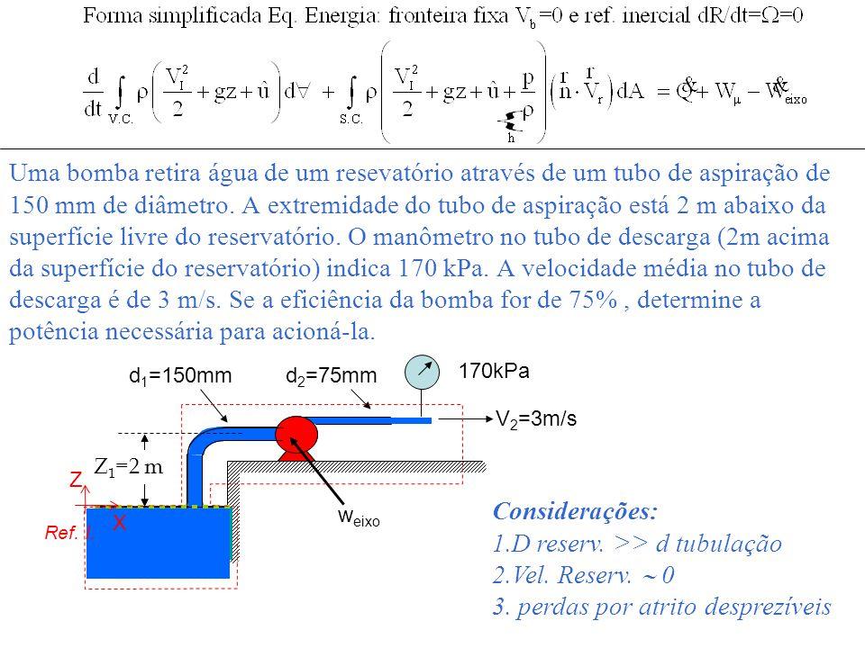 D reserv. >> d tubulação Vel. Reserv.  0