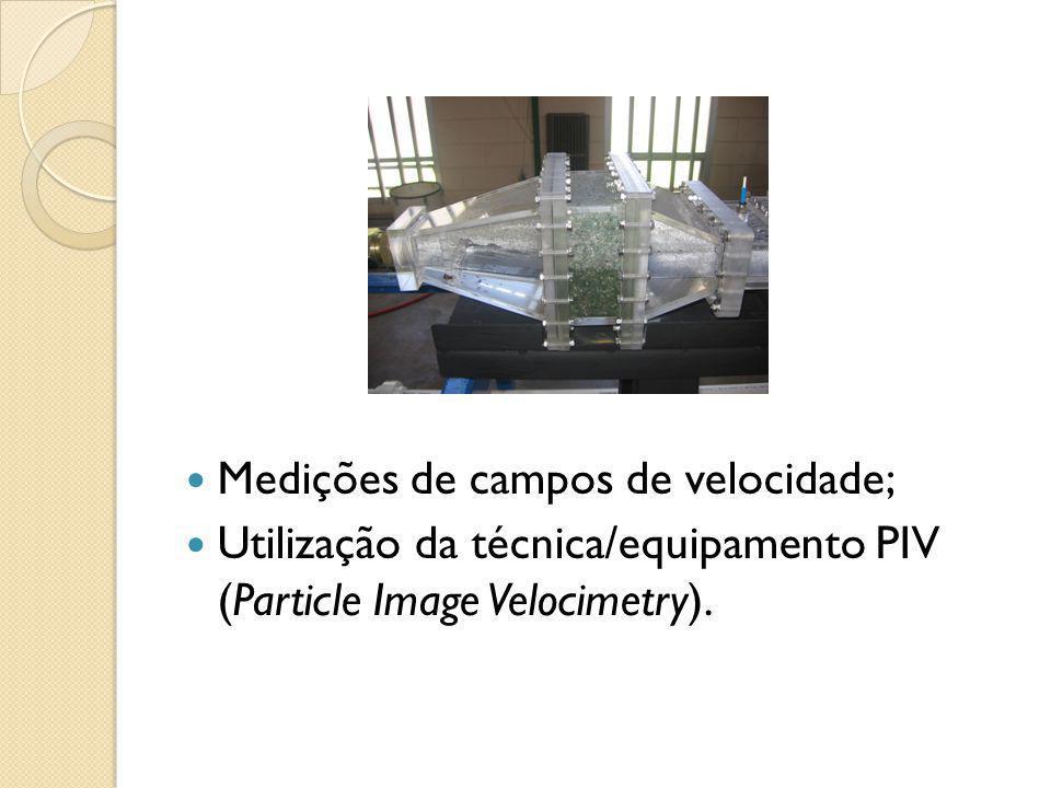 Medições de campos de velocidade;