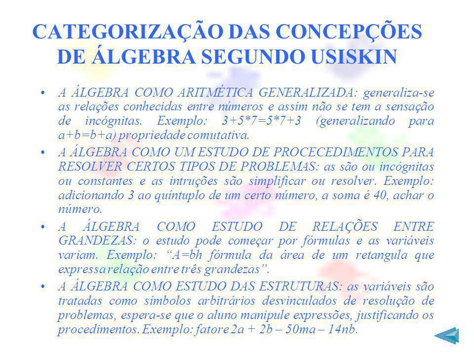 CATEGORIZAÇÃO DAS CONCEPÇÕES DE ÁLGEBRA SEGUNDO USISKIN